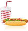 Paper cup with soda and hotdog Royalty Free Stock Photos
