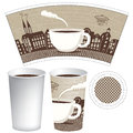 Paper cup for tea or coffee with a picture of the old town Stock Images