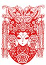 Paper cut chinese butterfly headdress chinese new year blessing tradition auspicious mascot red maiden woman bride peking opera Stock Photo
