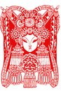 Paper cut chinese headdress chinese new year blessing tradition auspicious mascot red maiden woman bride peking opera sketch mulan Stock Images