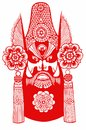 Paper cut chinese headdress chinese new year blessing tradition auspicious mascot red man beard peking opera sketch antiquity Royalty Free Stock Photography