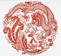 Paper cut of dragon and phoenix