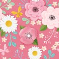 Paper Cut Flowers Seamless Pattern. Spring Floral Origami Background. Botanical Graphic Design Fabric Texture for Wallpaper Royalty Free Stock Photo