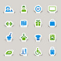 Paper Cut - Hotel icons Royalty Free Stock Photo
