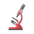 Paper cut of red microscope is science equipment in laboratory f Royalty Free Stock Photo