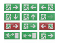 Paper cut of run to exit label for emergency with escape sign fr the from fire Royalty Free Stock Photo