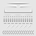 Paper cut, stitch and perforation web dividers with shadow effect vector template Royalty Free Stock Photo