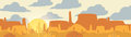 Paper-cut Style Applique Desert Panorama with Cactus and Mesa -