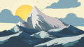 Paper-cut Style Applique Mountains - Vector Illustration