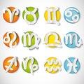 Paper cut zodiac set icon Royalty Free Stock Photo