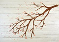 Paper cutout tree branch wooden background Stock Photo