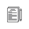Paper documents and pen line icon