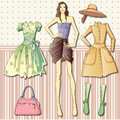 Paper doll with clothes a fashionista cloakroom some Royalty Free Stock Images