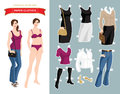 Paper doll with clothes for office and holiday.