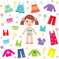 Paper doll with clothes set Royalty Free Stock Image