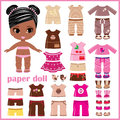 Paper doll with clothes set Stock Photo
