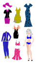Paper doll for cutting out with summer clothes an