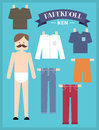 Paper doll man illustration of with different types of clothing Stock Photo