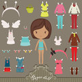 Paper doll outfits dress up with body template Stock Photo