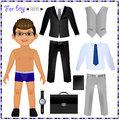 Paper doll with a set of clothes. Business style.