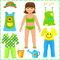 Paper doll with a set of clothes. Cute girl.