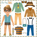 Paper doll with a set of clothes. Cute hipster boy.