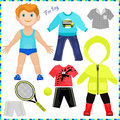 Paper doll with a set of clothes.