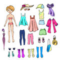 Paper doll and a set clothes for her