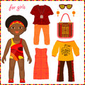 Paper doll with a set of colorful ethnic clothing cute little african girls isolated on white background Stock Images