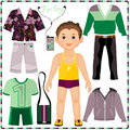 Paper doll with a set of fashionable clothing. Cut