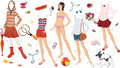 Paper doll of a teen girl and clothing for her Stock Images