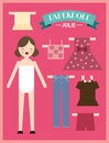 Paper doll woman illustration of with different clothing Stock Photo