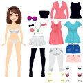 Paper doll women fashion sweet long hair brunette game clothing set Stock Photography