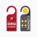 Paper door handle lock hangers concept economic room banner Royalty Free Stock Photo