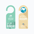 Paper door handle lock hangers concept world room banner vector Royalty Free Stock Photo