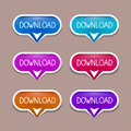 Paper download buttons set vector in blue red pink colors Stock Photography