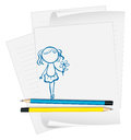 A paper with a drawing of a girl holding a flower illustration on white background Royalty Free Stock Photo