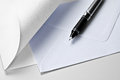 Paper, envelope and pen Royalty Free Stock Photo