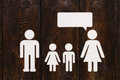 Paper family, mother is talking. Abstract conceptual image Royalty Free Stock Photo