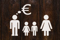 Paper family, parents are thinking about money. Abstract conceptual image Royalty Free Stock Photo