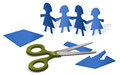 Paper figures illustration with cutout and a scissors Royalty Free Stock Image
