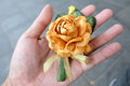 Paper flower for buddist funeral ceremony beautiful handmade on human hand Stock Images