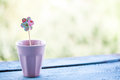 Paper flower in a pink pot shape Royalty Free Stock Photo