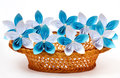 Paper flowers in a basket Royalty Free Stock Images