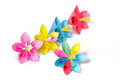 Paper flowers and flower with varicolored petals four colored in row Royalty Free Stock Images