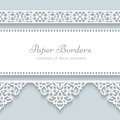 Paper frame with lace borders background ornamental lacy seamless Royalty Free Stock Images