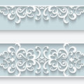 Paper frame with lace borders background ornamental lacy seamless Stock Photos
