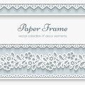 Paper frame with ornamental borders background lacy seamless Royalty Free Stock Photos