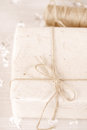 Paper goft box tied by jute string shallow dof Royalty Free Stock Photos