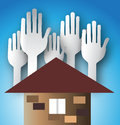 Paper hands with house silhouette image simplicity Royalty Free Stock Photo